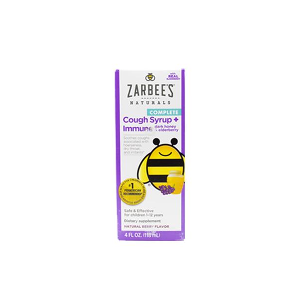 Zarbees Naturals Complete Cough Syrup + Immune dark honey & elderberry 4 FL OZ